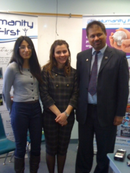 Dr. Aslam Daud, Humanity First, being interviewed by Maryam Shah and Mersiha Gadzo, Centennial College Journalism, March 2011