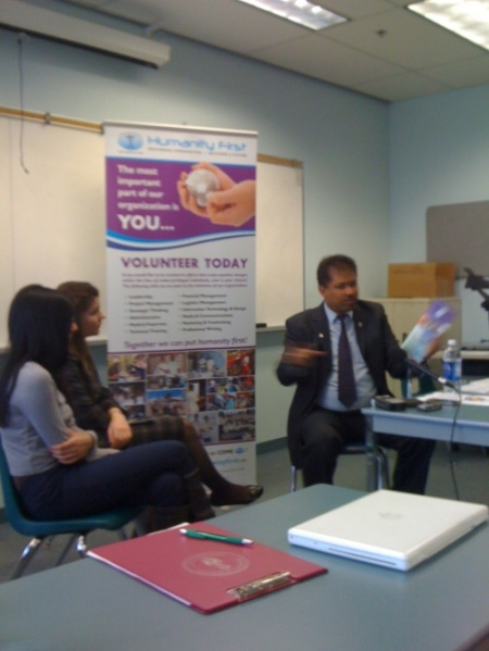 Dr. Aslam Daud, executive director of Humanity First, at Centennial College journalism school March 2011