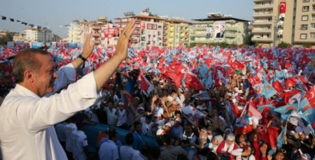Erdogan gives a victory speech in Ankara earlier this month (AA)