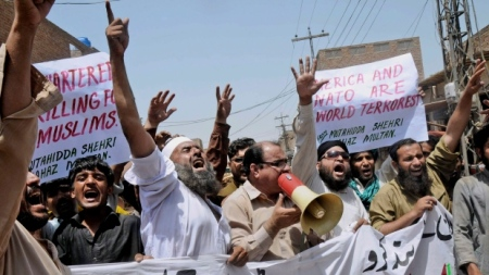 Pakistani protesters chant anti-NATO slogans, during a demonstration to condemn U.S. drone strikes in the tribal areas, in Multan, Pakistan. A drone strike in Pakistan's tribal areas killed several suspected militants early Monday, Pakistani officials said, as the U.S. pushes ahead with the controversial drone program despite Pakistani demands to stop. The strike was the seventh in less than two weeks. (The Associated Press)